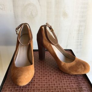 Franco Sarto Suede and Leather Ankle Strap Heel